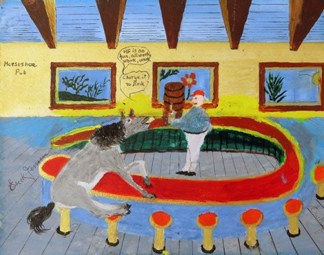 """Dad's painting of his cheeky grey horse saying, """"Charge it to Erik"""" at the Horseshoe Bar"""