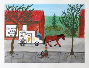 Dad's painting of the 'Ice Cream' man and his horse in Denmark