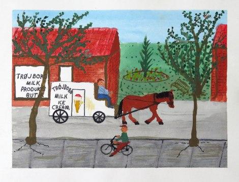 La peinture de papa de l'homme «Ice Cream» et de son cheval au Danemark