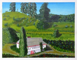Dad's painting of the house on the family farm in Summerland BC