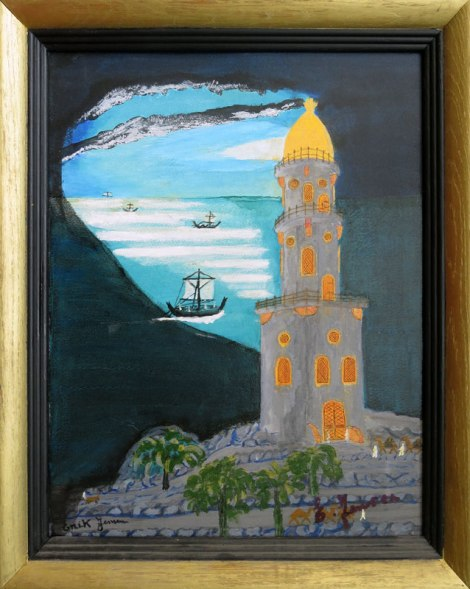 Dad's painting of the Pharos Lighthouse in Rhodos, Greece