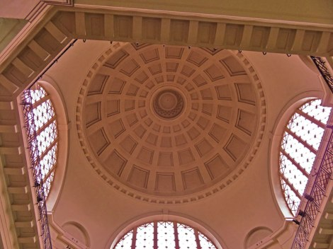 Classic domed ceiling in the Cardiff Museum in Wales