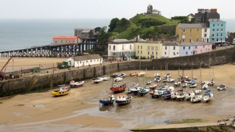 Tenby's Pastel Buildings on Its Tidal Harbour