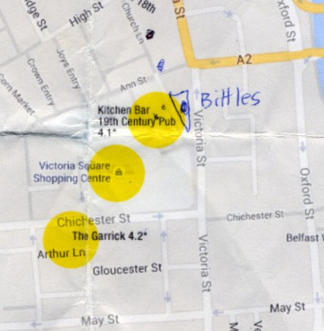 Bittles, VictoriaSquare and the Garrick marked out on a Google map