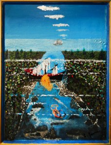 dad's painting of pirate ship (and mermaid?)
