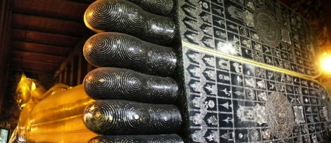 The feet of the Lying Buddha in are inlaid with 'mother of pearl' in Wat Po, Bangkok, Thailand