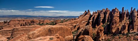 Rock fins near Private Arch in Arches National Park, Utah, USA