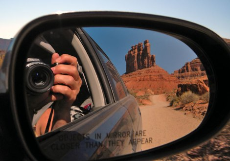 Valley of the Gods reflected in a car mirror