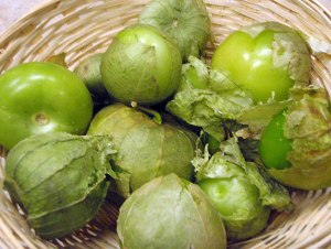 ripe tomatillos in a basket