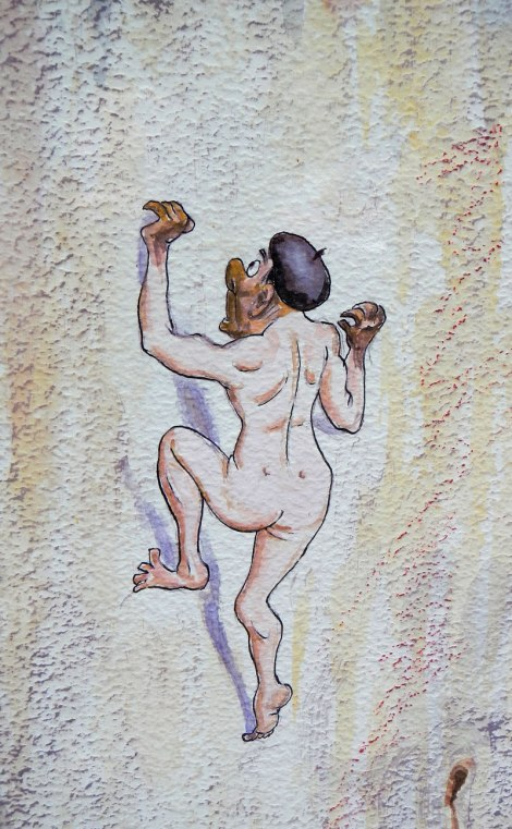 Climbing Picos de Europa naked cartoon