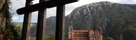 View of the church from the Covadonga shrine