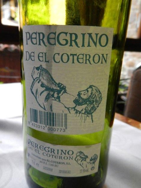 Wine that accompanied the menu del dia was 'Peregrino de el Coteron', peregrino being pilgrim