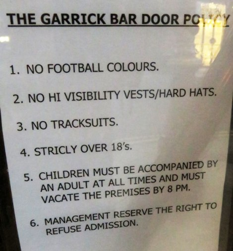 The 'door policy' posted on The Garrick, a Belfast pub