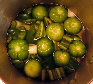 Salsa Verde: Boil the whole tomatillos in lightly salted water along with the jalapeños, onion and garlic