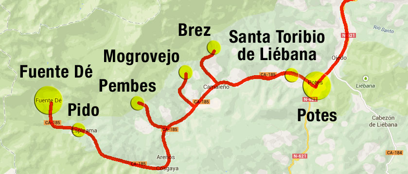 Map of Potes to Fuente Dé in the Picos de Europa, Spain