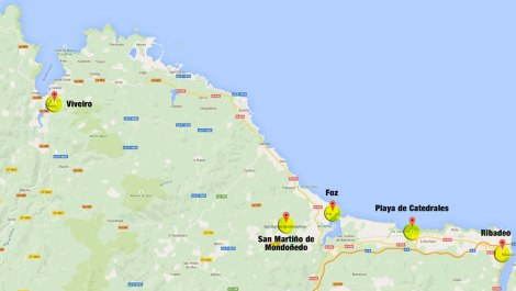 Map of our route from Ribadeo to Viveiro