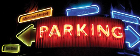 Neon parking sign on Granville Island, Vancouver