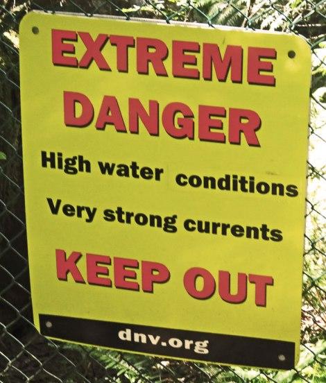 Lynn Canyon sign: Extreme Danger