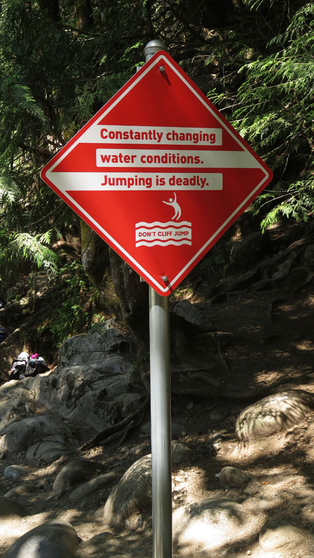 Lynn Canyon sign: Don't cliff jump!
