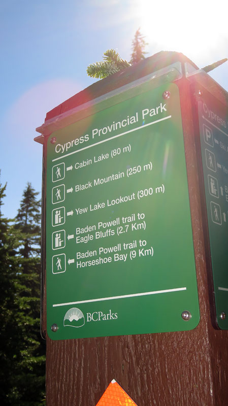 Sign to Cabin Lake on top of Cypress Mountain in West Vancouver