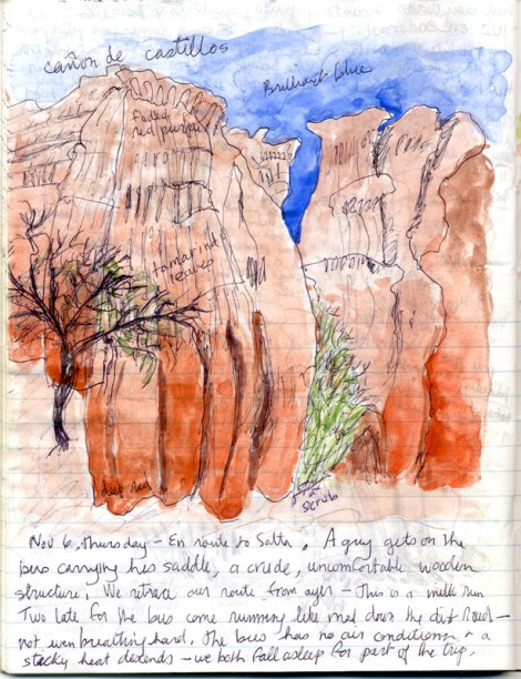 Argentina diary with a drawing of the Castillos