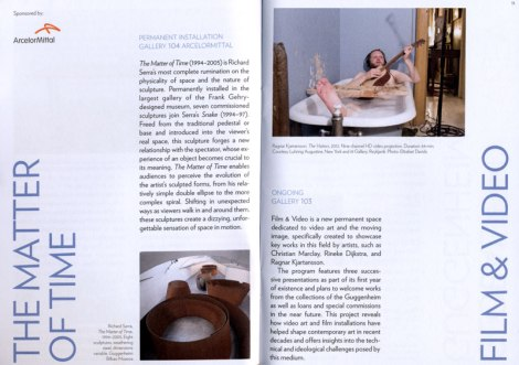 Booklet detailing the main room-sized sculptures and music film playing at the Guggenheim Museum of Modern Art in Bilbao