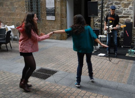 People dancing at the Bilbao street party on the 'Dia de Fiesta Nacional''