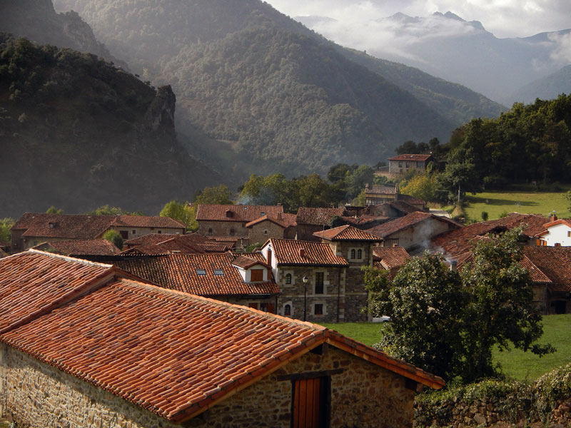 A view of Mogrovejo, a mountain village in a Picos de Europa, Spain