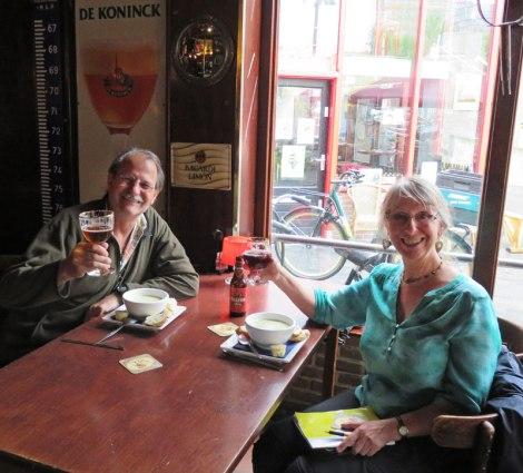 Enjoying a few brews at the Dutch Maritiem Pub in Rotterdam, Holland