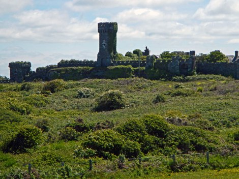 Overgrown ruins of a castle off in the distance (Anglesey, Wales)