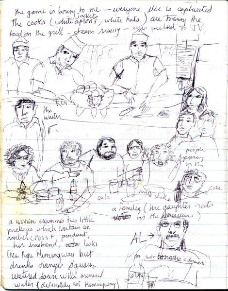 drawing of the crowd watching the Guatemala-US futbol (soccer) game in San Cristobal, Mexico