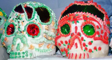 A couple of well-decorated sugar skulls
