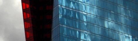 Las Vegas building windows mirror the clouds