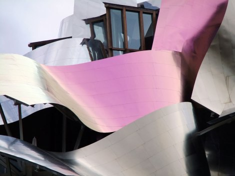 Frank Gehry architecture in El Ciego, a hotel attached to a winery in La Rioja, Spain