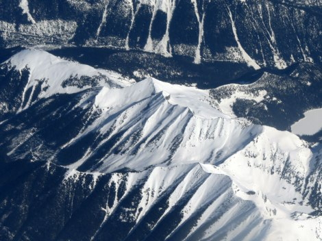 Aerial of the snowy Coastal Mountains