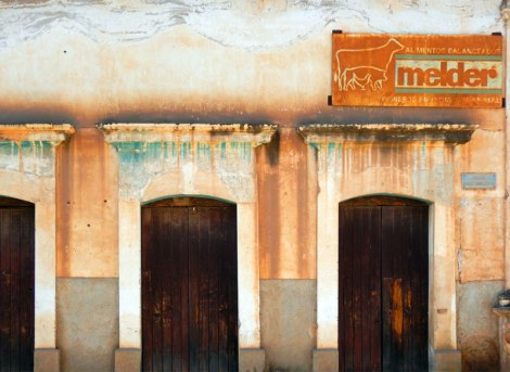 A coloured wall with doors in Mascota, Mexico
