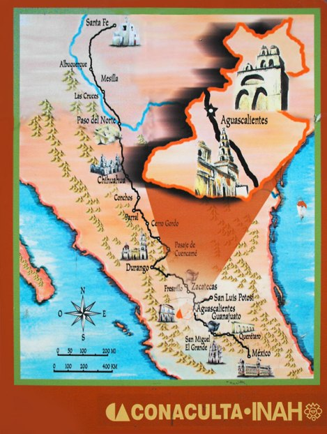 Map of the silver route in Aguascalientes, Mexico