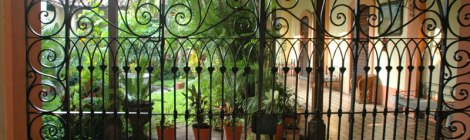 The courtyard of the Hotel le Merced in Colima, Mexico