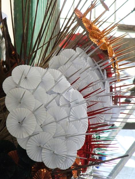 Paper offerings at the Sule Pagoda in Yangon, Myanmar