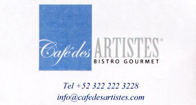 Cafe de Artistes business card
