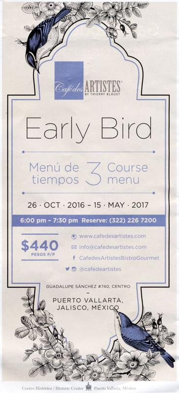 Cafe des Artistes early-bird special