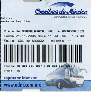 Boleto (Bus ticket) from Guadalajara to Aguascalientes, Mexico