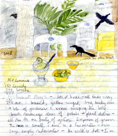 Colimilla watercolour and notes from diary