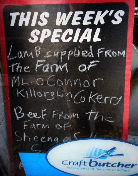 A local craft butcher gives the names of the farmers who provide their lamb and beef (Sneam, Ireland)