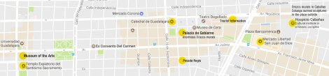 Google map of Guadalajara's 'Centro Histórico'