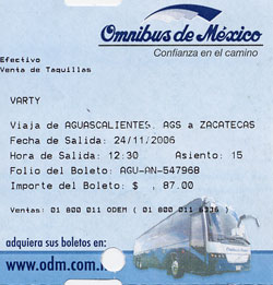 Omnibus ticket for the Aguascalientes to Zacatecas route