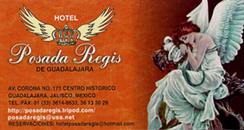 Business card for the Posada Regis where we stayed in Guadalajara