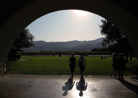 Shadows under the archway of a California winery