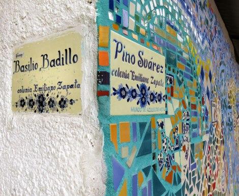 Mosaic tile wall on the corder of Basilio Badillo and Pino Suarez in the Lazaro Cardenas Park in Puerto Vallarta, Mexico