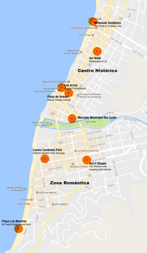 Puerto Vallarta map of places to vist